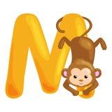 孩子的动物字母表钓鱼信件M,动画片乐趣在幼儿园的abc教育,逗人喜爱儿童动物园汇集学会 免版税库存图片