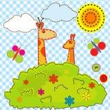 孩子的动画片背景与长颈鹿和袋鼠 免版税库存照片