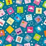 孩子的包装纸与动画片玩具 免版税图库摄影
