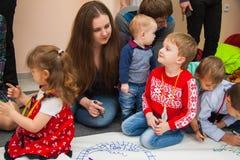 孩子的图画教训 库存图片