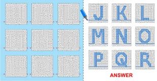 孩子的字母表迷宫- J, K, L, M, N, O, P, Q, R 免版税图库摄影