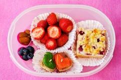 孩子的学校午餐箱子 免版税库存图片