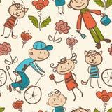 孩子的室外休闲无缝的样式 免版税库存照片