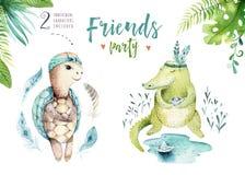 孩子的小动物托儿所被隔绝的例证 水彩boho热带图画,儿童逗人喜爱的热带乌龟和 库存照片