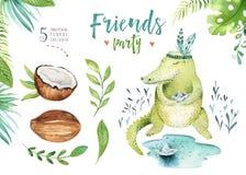 孩子的小动物托儿所被隔绝的例证 水彩boho热带图画,儿童逗人喜爱的鳄鱼,回归线 免版税库存图片