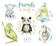 孩子的小动物托儿所被隔绝的例证 水彩boho热带图画,儿童punda,鳄鱼 免版税库存图片