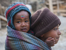 孩子的尼泊尔育儿 库存照片