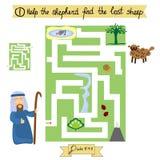 孩子的工作完成迷宫并且发现失去的绵羊 主日学 免版税库存照片