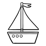 孩子的彩图,游艇 库存例证