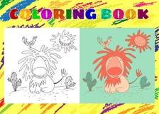 孩子的彩图 与鸟的概略矮小的桃红色狮子 皇族释放例证