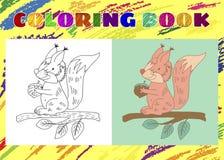 孩子的彩图 概略矮小的桃红色灰鼠 向量例证