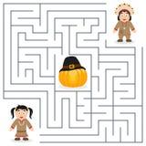 孩子的感恩迷宫-当地人 免版税库存照片