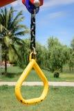 孩子的操场设备在公园 免版税库存照片