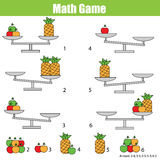 孩子的数学教育比赛 平衡标度 图库摄影