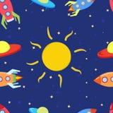 孩子的样式有空间、火箭、太阳、星和飞碟的 做在动画片样式 库存照片