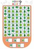 孩子的活页练习题,计数对象的数量,学会数字,多少个对象,教育儿童比赛 免版税库存照片