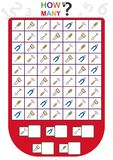 孩子的活页练习题,计数对象的数量,学会数字,多少个对象,教育儿童比赛 免版税库存图片
