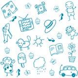 孩子的玩具集合乱画艺术 免版税库存照片