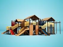 孩子的现代从树的操场和少年与海滩娱乐的3d儿童的上升的墙壁在蓝色回报 库存例证