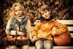 孩子的秋天时尚 免版税图库摄影