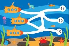 孩子的算术比赛,通过迷宫带领潜水艇改正数字,教育孩子的迷宫比赛,学校活页练习题 库存例证