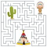 孩子的美洲印第安人迷宫 免版税库存照片