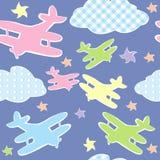 孩子的背景与玩具飞机 免版税库存照片