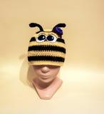 孩子的蜂羊毛帽子 库存照片