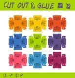孩子的被删去的和胶浆教育纸比赛 使用剪刀和胶浆创造小事的,琐事颜色盒 皇族释放例证