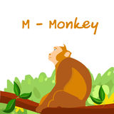 孩子的被隔绝的动物字母表,猴子的M 库存照片