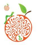 孩子的迷宫难题与毛虫和苹果 迷宫例证,包括的解答 库存例证