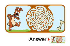 孩子的迷宫难题与狗和骨头 迷宫例证,包括的解答 免版税库存照片