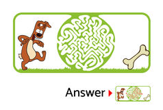 孩子的迷宫难题与狗和骨头 迷宫例证,包括的解答 库存图片