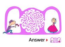 孩子的迷宫难题与男人和妇女爱的,迷宫例证用解答 库存例证
