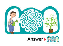 孩子的迷宫难题与花匠和花 迷宫例证,包括的解答 库存照片