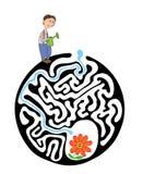 孩子的迷宫难题与花匠和花 迷宫例证,包括的解答 免版税图库摄影