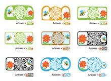 孩子的迷宫难题与蜂和花 迷宫例证,包括的解答 皇族释放例证