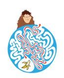 孩子的迷宫难题与猴子和香蕉 迷宫例证,包括的解答 免版税图库摄影