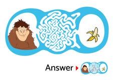 孩子的迷宫难题与猴子和香蕉 迷宫例证,包括的解答 免版税库存图片