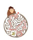 孩子的迷宫难题与猴子和香蕉 迷宫例证,包括的解答 库存照片