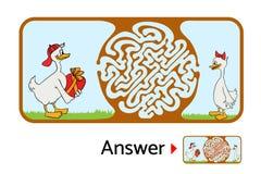 孩子的迷宫难题,迷宫例证用解答 库存例证