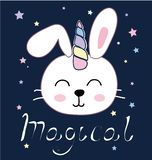 孩子的逗人喜爱的兔宝宝独角兽传染媒介例证设计 皇族释放例证