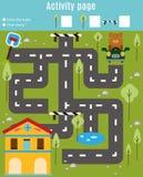 孩子的活动页 培训比赛 迷宫和发现对象题材 帮助熊发现家 对于学龄前几年孩子 免版税库存图片