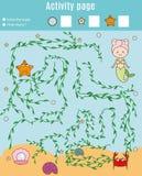 孩子的活动页 培训比赛 迷宫和计数比赛 帮助美人鱼发现珍珠 学龄前几年孩子的乐趣 免版税库存照片