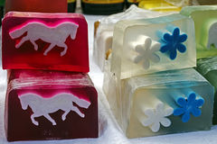 孩子的4愉快的自然肥皂 免版税库存照片