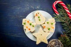 孩子的滑稽的食物,圣诞节早餐 库存图片