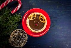 孩子的滑稽的食物,圣诞节早餐 库存照片