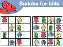 孩子的Sudoku比赛有图片的 学龄前孩子的逻辑比赛 孩子的谜 教育比赛传染媒介illustratio 库存例证