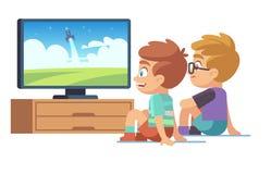 孩子看电视 儿童电影本国人女孩观看电视显示图片屏幕字符电显示器动画片 向量例证
