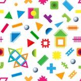 孩子积木在childroom戏弄传染媒介婴孩五颜六色的砖修建或修建逗人喜爱的颜色建筑 免版税库存照片